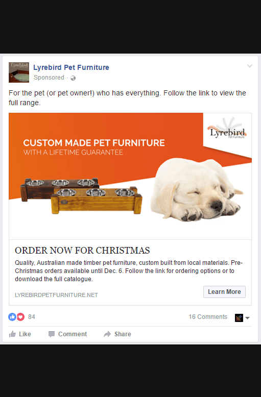 A Facebook social media post for Lyrebird Pet Furniture by Clikk